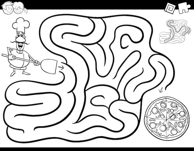 Livre de coloriage de jeu de labyrinthe avec chef et pizza