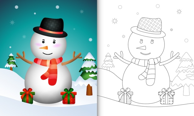 Livre de coloriage avec un joli bonhomme de neige de noël avec un chapeau et une écharpe