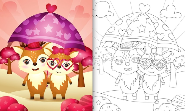 Livre de coloriage avec un joli couple de cerfs tenant un parapluie sur le thème de la saint-valentin