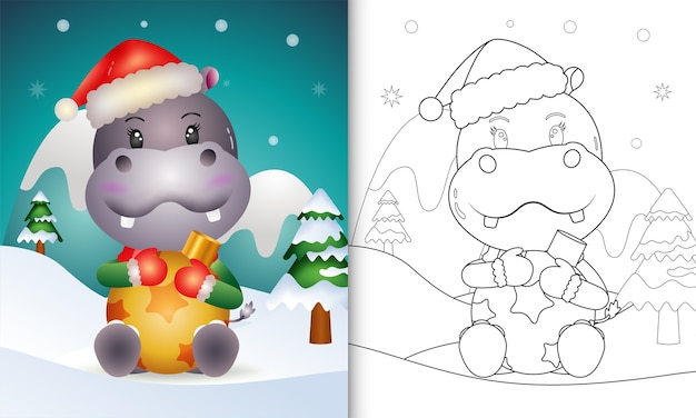 Livre de coloriage avec une jolie boule de noël hippo hug