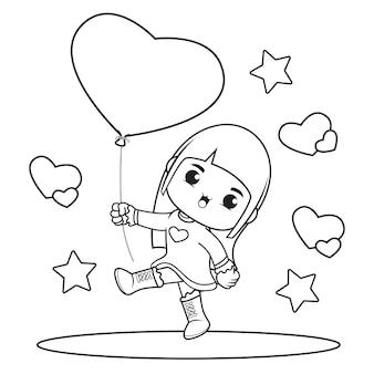 Livre de coloriage jolie fille tenant un coeur de ballon