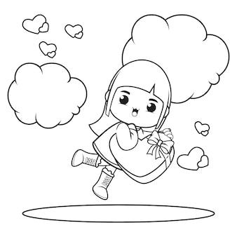 Livre de coloriage jolie fille tenant un coeur