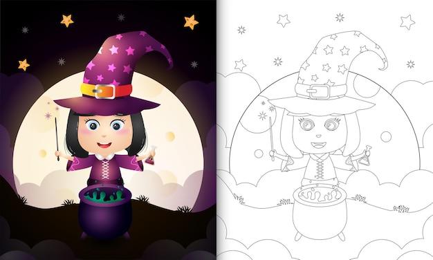 Livre de coloriage avec une jolie sorcière halloween