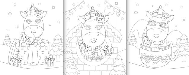 Livre de coloriage avec de jolis personnages de noël licorne