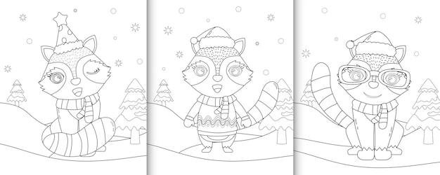 Livre de coloriage avec de jolis personnages de noël de raton laveur