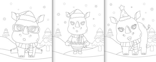 Livre de coloriage avec de jolis personnages de noël rhinocéros