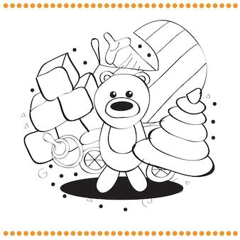 Livre de coloriage - jouets dessinés à la main - illustration vectorielle