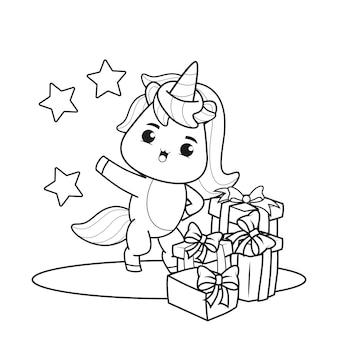 Livre de coloriage le jour de noël avec une licorne mignonne