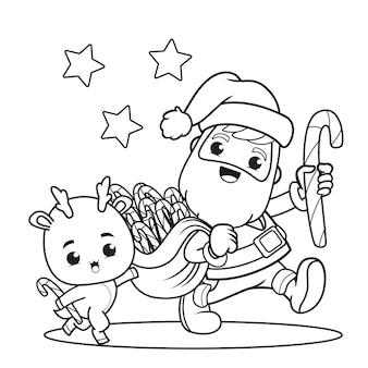 Livre de coloriage le jour de noël avec le père noël et le cerf mignon
