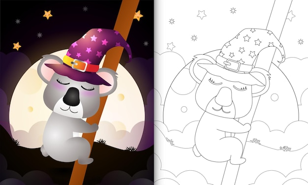 Livre de coloriage avec un koala de sorcière d'halloween de dessin animé mignon devant la lune
