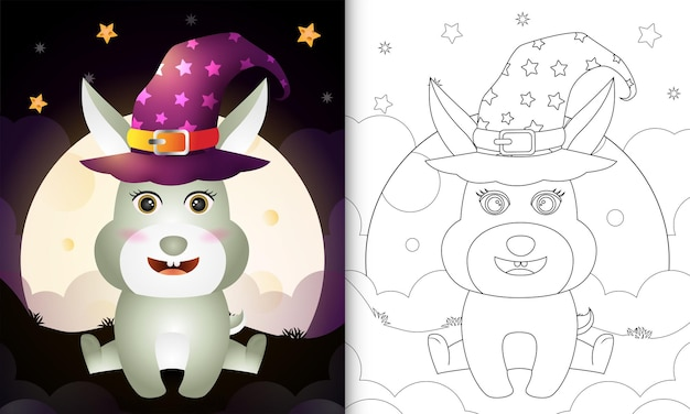 Livre de coloriage avec un lapin de sorcière d'halloween de dessin animé mignon devant la lune