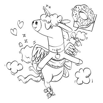 Livre de coloriage de licorne mignon patins à roulettes