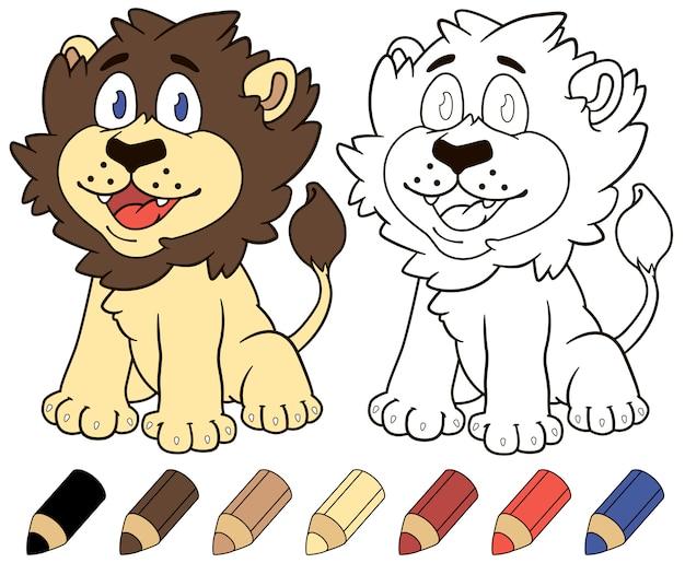 Livre de coloriage lion heureux dessin animé.