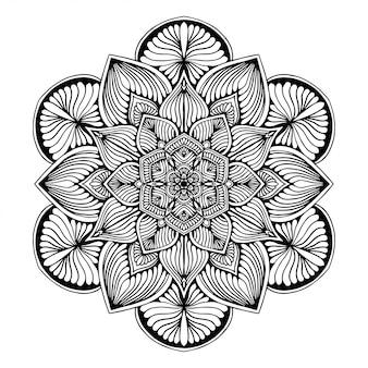 Livre de coloriage de mandalas, forme de fleur, thérapie orientale, logos vector yoga.