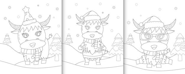 Livre de coloriage avec un mignon personnages de noël de buffle