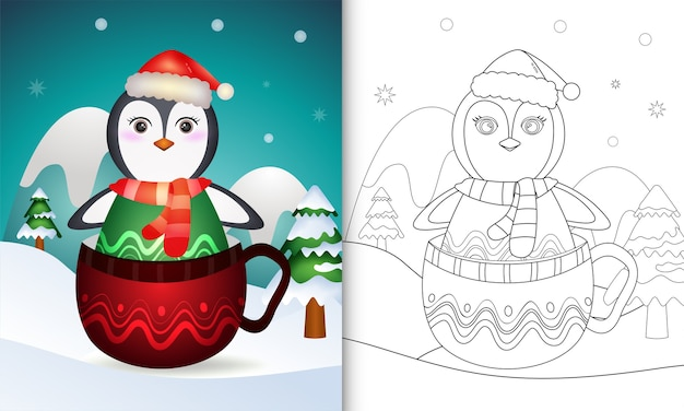 Livre de coloriage avec un mignon personnages de noël pingouin