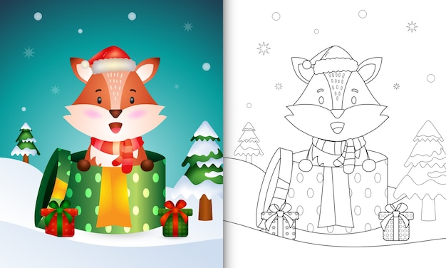 Livre de coloriage avec un mignon personnages de noël renard à l'aide de bonnet de noel et écharpe dans la boîte cadeau