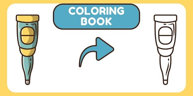Livre de coloriage mignon thermomètre doodle cartoon dessiné à la main pour les enfants