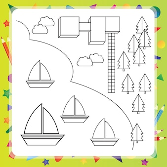Livre de coloriage avec des navires et carte - illustration vectorielle