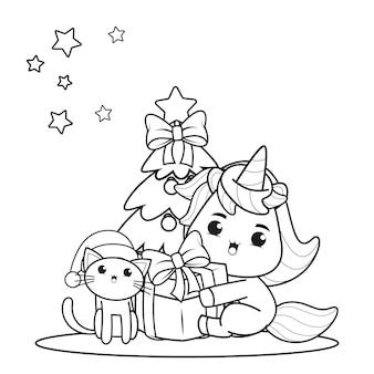Livre de coloriage de noël avec une licorne mignonne14