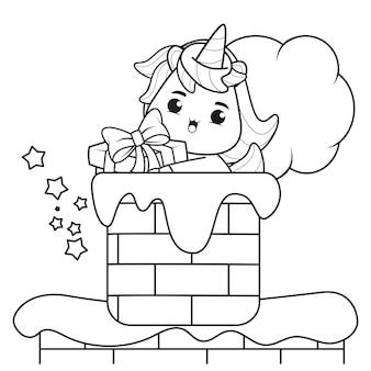 Livre de coloriage de noël avec une licorne mignonne16