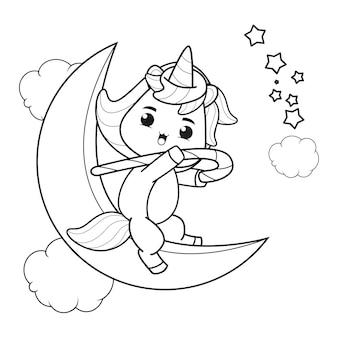 Livre de coloriage de noël avec une licorne mignonne22
