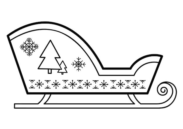 Livre de coloriage de noël ou page pour les enfants. illustration vectorielle de noël traîneau noir et blanc