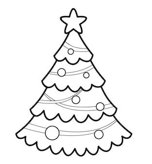Livre de coloriage de noël ou page pour les enfants. illustration vectorielle de sapin de noël noir et blanc