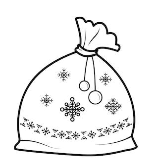 Livre de coloriage de noël ou page pour les enfants. sac de noël avec illustration vectorielle de cadeaux noir et blanc