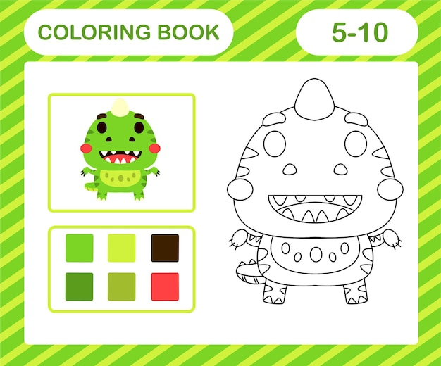 Livre de coloriage ou page de dessin animé mignon dino, jeu éducatif pour les enfants de 5 et 10 ans