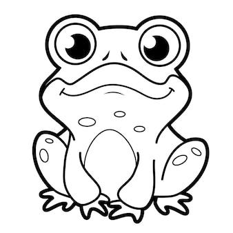 Livre de coloriage ou page pour les enfants. grenouille noire et blanche