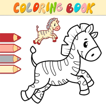 Livre de coloriage ou page pour les enfants. illustration noir et blanc de zèbre
