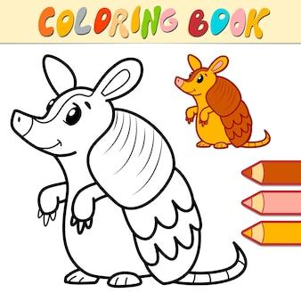 Livre de coloriage ou page pour les enfants. illustration de tatou noir et blanc