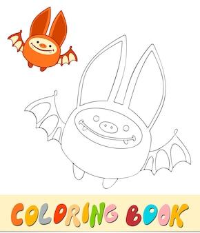 Livre de coloriage ou page pour les enfants. illustration vectorielle de chauve-souris noir et blanc