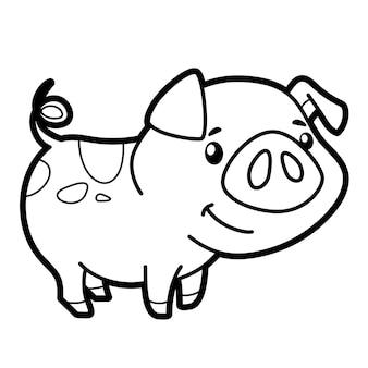 Livre de coloriage ou page pour les enfants. illustration vectorielle de cochon noir et blanc