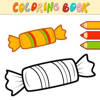 Livre de coloriage ou page pour les enfants. illustration vectorielle de noël bonbons noir et blanc