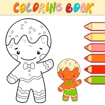 Livre de coloriage ou page pour les enfants. illustration vectorielle de noël gingerbread man noir et blanc
