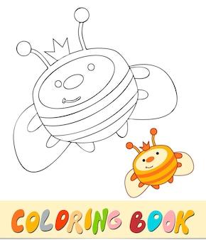Livre de coloriage ou page pour les enfants. illustration vectorielle noir et blanc d'abeille