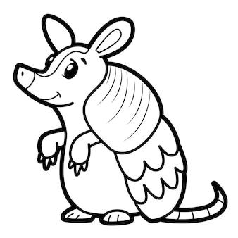 Livre de coloriage ou page pour les enfants. illustration vectorielle de tatou noir et blanc
