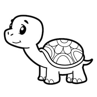 Livre de coloriage ou page pour les enfants. tortue noire et blanche