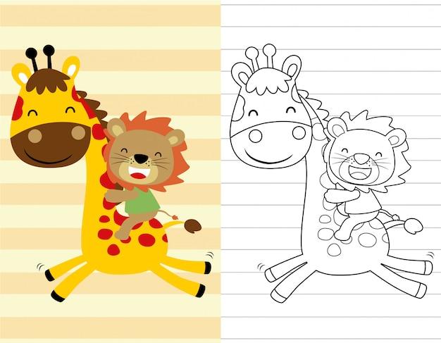 Livre de coloriage ou page avec tour de lion sur girafe