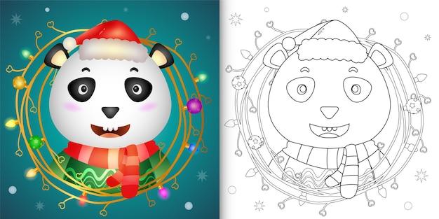 Livre de coloriage avec un panda mignon avec décoration de brindilles de noël