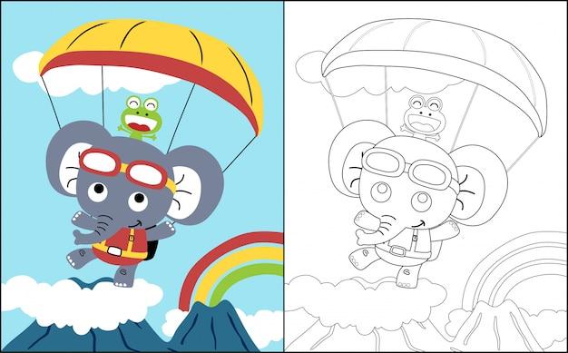 Livre de coloriage avec des parachutistes drôles