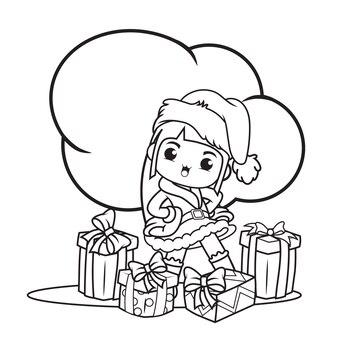 Livre de coloriage avec personnage de noël jolie fille