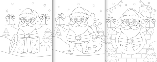 Livre de coloriage avec des personnages de noël mignons de santa clause