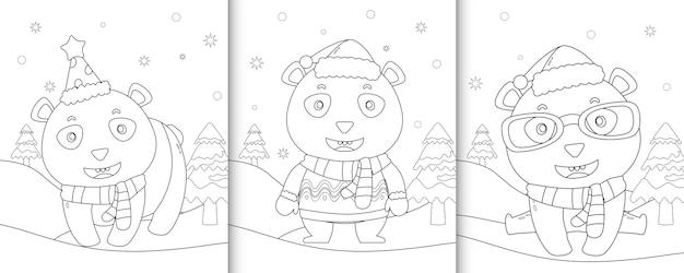 Livre de coloriage avec des personnages de noël panda mignon