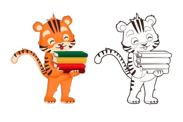 Livre De Coloriage : Le Petit Tigre Tient Un Livre à La Main. Vecteur, Illustration En Style Cartoon, Lineart Noir Et Blanc Vecteur Premium