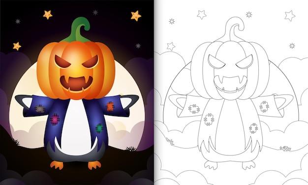 Livre de coloriage avec un pingouin mignon utilisant l'épouvantail de costume et la citrouille halloween