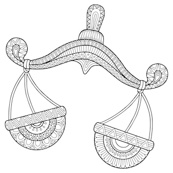 Livre de coloriage pour adulte. silhouette de balance sur fond blanc. balance signe du zodiaque.