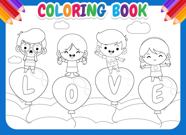 Livre de coloriage pour les enfants 4 happy kids on flying love balloon